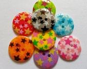 15pcs Cute Star Printed Retro Button Size 23 mm Mix color