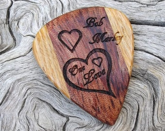 Handmade Premium Wood Guitar Pick - Bubinga and Lati - Laser Engraved - Actual Pick Shown - No Stock Photos