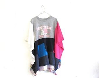 funky boho poncho / Panama City Beach dress / eco tunic  / upcycled clothing / casual shirt / boho tunic by CreoleSha
