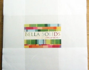 "WHITE LAYER CAKE, Bella Solids White Layer Cake from Moda, 10-Inch Squares, Precut Fabric Squares, 10"" Squares, White Precut Fabric"