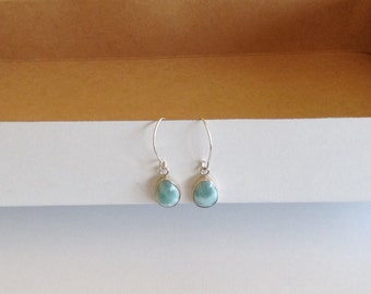 Larimar earrings dangle drops set in sterling silver 925 Fall fashion jewelry