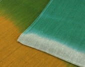 Heirloom Linen Tablecloth in Saffron and Sea Green