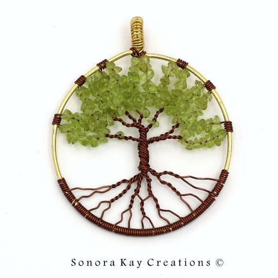 Peridot Tree of Life Pendant 004