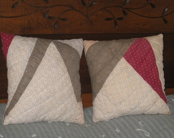 2 Quilt Pillows Set Primitive Early Fabrics 1800s Antique Pillow Ticking Backing Homespun Checked Fabric Pindot Gift Set Pillows