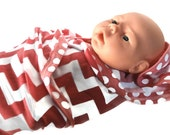 Coral Chevron Swaddling Baby Blanket. Coral & White Chevron Stretchy Infant Swaddler Blanket.   Stretch Knit Baby Receiving Blanket.