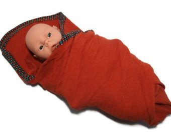 Swaddling Baby Blanket. Orange Stretchy Infant Swaddler Blanket.  Smocked Crinkle Stretch Knit Baby Receiving Blanket.