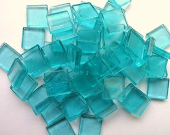 "15mm (3/5"") Aqua BlueTransparent Glass Mosaic Tiles/ Caribbean/ Beach"