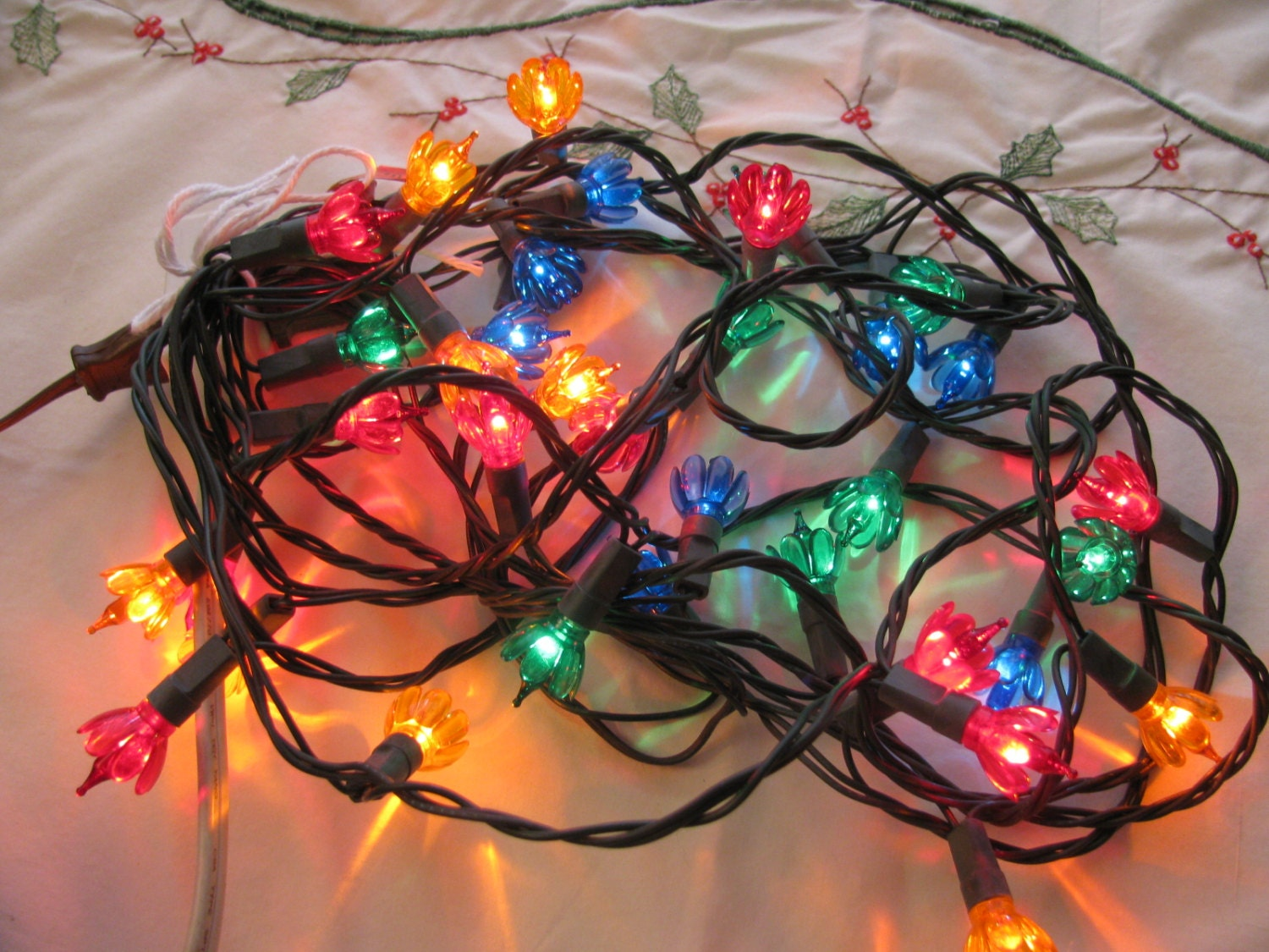 Vintage String Lights Etsy : Vintage 1960s Flower Mini Christmas Lights 35 Bulb Set String