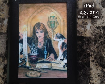 Sorceress and cat, Magic is Afoot, iPad 2,3 or 4 Snap on Case