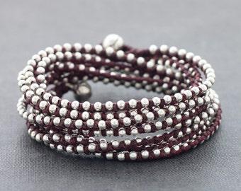 Maroon Red Triple Warp Stud Silver Bracelet Necklace