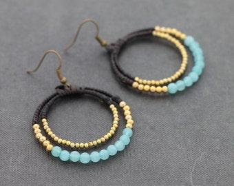 Chalcedony Double Hoop Earrings