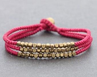 Cube Pink Beaded Three Strand Bracelet