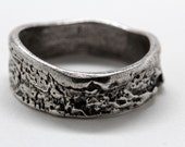 Silver Angle Cut Tree Bark Ring sizes 4 to 12