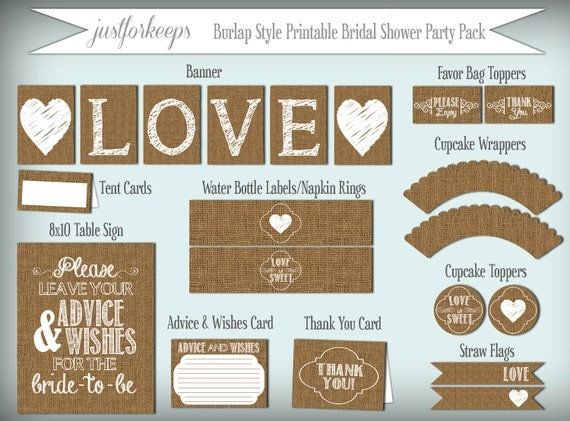 Printable Burlap Bridal Shower Party Decorations PDF Instant Download Rustic Shabby Chic Woodland Bridal Shower Printable Party Pack