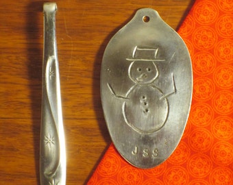 Snowman and Icicle spoon ornament pair
