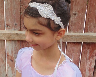 Flower Girl Headband, Girl Headpiece, Rhinestone Headpiece, Pearl Headpiece, Bridal Headpiece, Baptism Headband