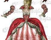 Queen Marie Antoinette Printable Paper Doll Valentine Printable Paper Doll Queen Printable PaperDoll Digital Collage Sheet Instant Download