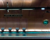 Paris Photography, Metro, Copper, Brown, Teal, Arts et Metiers, Architecture, Paris Print, Submarine Metro