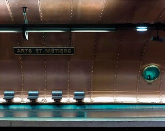 Paris Photography, Metro, Copper, Brown, Teal, Arts et Metiers, Architecture, Paris Print, Submarine Metro