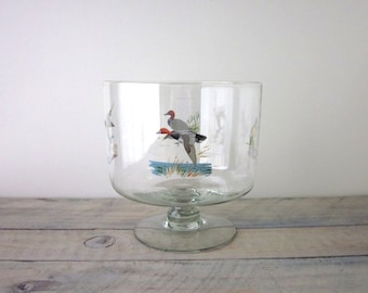 Vintage Glass Trifle Bowl with Ducks Ned Smith
