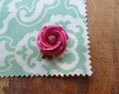 Pink Enamel Rose Flower Clasp. Single Strand.  Shabby Chic Vintage Jewelry Findings.