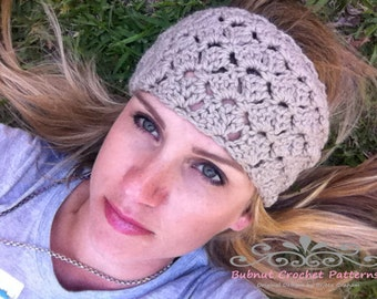 Crochet Headband Pattern - No.804 Tulip Hair Wrap Head Band Pattern Digital Download ONE Size