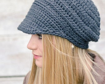 Crochet Hat Pattern - Easy Peasy Button-Up Brimmed Newsboy Cap No.310 Instant Digital Download