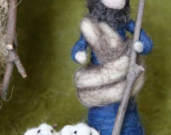 Needle Felted Nativity Set, Good shepherd with TWO lambs, Christmas decor, Original design by Borbala Arvai
