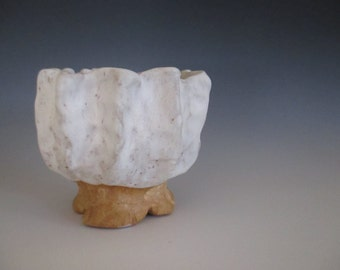 Planter Flower Pot Textured Pinch Pot Mixed Clay with White Glaze