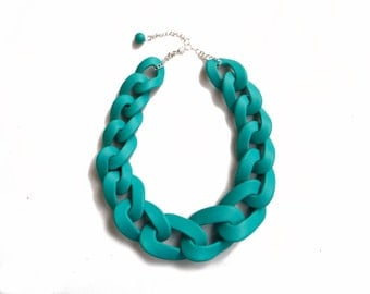 Blue Oversized Chain Necklace, Teal Chain Link Statement Necklace, Big Chain Link Necklace
