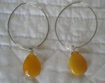 Butterscotch Honey Jade Smooth Oval Stones on Hoop Earrings