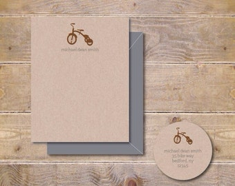 Tricycle, Baby Thank You Cards, Baby Shower, Thank You Cards, Trike, Tricycle Note Cards, Bicycle Baby Cards, Baby Announcements