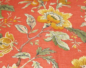 Fat Quarter , Fabric , Floral , Linen and Rayon , 25 x 25 , Designer Fabric , Home Textiles , Floral , Natural Fibers , Sewing Fabric