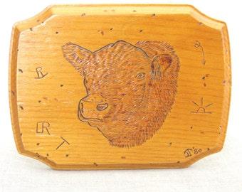 Vintage Folk Art Carved Wood Livestock Plaque , Heifer , Bovine , 4-H Club , Animal , Farm Decor, Wall, Handmade, Hand Carved, Rustic