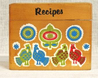 Wooden Recipe Box , File Box , Folk Art Box , Rustic Decor , Kitchen Box , Organization , Storage , Pennsylvania Dutch , Desk Box , Office