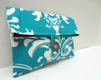 Turquoise Clutch in Ozborne Damask Print - READY TO SHIP