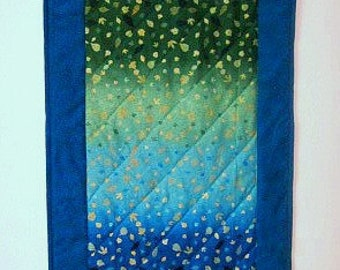 Table Runner Ombre Hand Quilted in Blue Green Gold and Teal