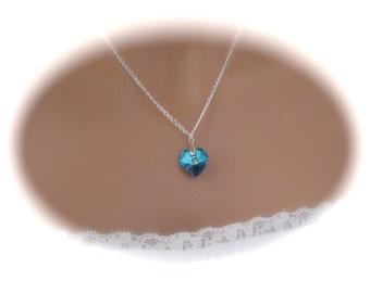 Bridesmaid Jewelry Bridal Necklace Wedding Jewelry Blue Swarovski Pendant Necklace