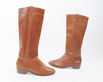 Vintage 80s Leather Riding Boots Tall Long EquestrianBoots Sienna Brown Flat Boots 1980s Knee High Boots Womens Size 8