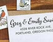 Custom Address Stamp - Calligraphy Stamp Eco Mount - wedding stamp - housewarming gift - Sawyer 2