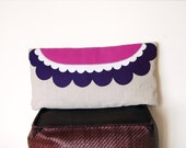 Flower Cushion Cover - felt embroidery applique design in pink/white/purple - Bothali