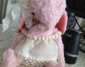 Handmade Vintage style whimsical pink teacup Elephant artist mohair teddy bear by Olive Grove Primitives
