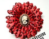 Dead Scarlett on a Red Leopard Hair Flower