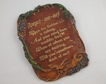 Vintage Pressed Wood Forget Me Not Poem Plaque Picture, Memento, Remembrance