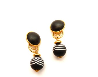 1990s Black and White Dina Panagopolous Dangling Earrings Modernist