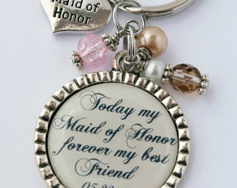 Maid of Honor Keychain, Thank You Gift for Friend, Custom Key Chain, Sentimental Quote, Wedding Party
