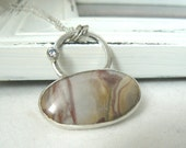 Late Spring - Sterling silver, white cz and Jasper Pendant with chain - READY TO SHIP