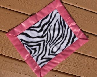 Lovey - Mini Blanket -  Zebra Print with Bright Pink Binding