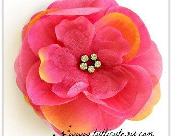 Hot Pink and Orange flower Hair clip
