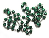 Malachite Rosary Necklace, Meditation Beads, Prayer Necklace in Gemstones & Sterling Silver or 14k Gold Filled